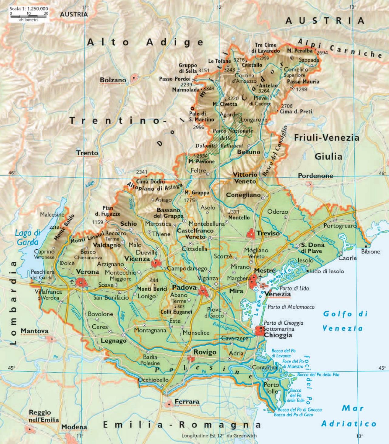 Trentino Alto Adige Cartina Fisica E Politica.Province Veneto Cartina